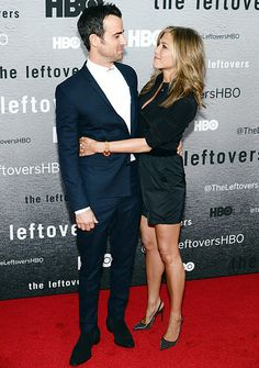 Jennifer Aniston Radiant on Leftovers Red Carpet With Justin Theroux - Us Weekly.  Adorable!