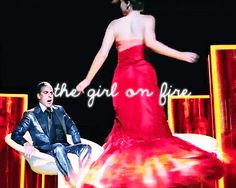 Katniss's red flaming dress for her interview with Caesar Flickerman. fire spin #gif. Hunger Games