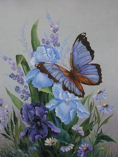 paintings of butterflies | Painting: Butterfly & Iris, Florals & Through the Garden Gate Series ...