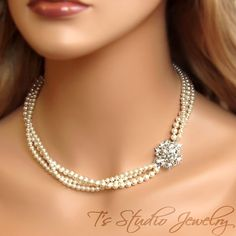 3-Strand Pearl Bridal Necklace with Offset by TzStudioJewelry