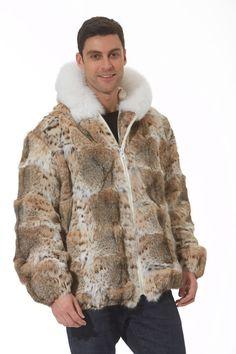 Hooded Lynx Fur Coat Jacket Parka for Men | eBay