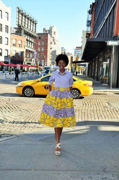 Etsy の African Print Midi Skirt XL by CHENBURKETTNY