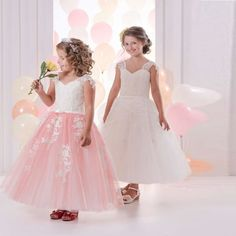 >> Click to Buy << Hot Sale Lace White Flower Girl Dresses Tulle Ball Gown V-Neck Sleeveless Appliques Formal Birthday Gown First Communion Dress  #Affiliate