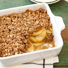 We mimicked the thick, sweet, sugary filling by treating the apples in two ways: We mashed some apples to thicken the sauce and sliced others for added texture. To cut down on calories, we traded the nuts for Grape-Nuts cereal. Fruit Crisp Recipe, Apple Crumble Recipe, Apple Crisp Recipes, Fruit Crumble, Healthy Desserts, Delicious Desserts, Dessert Recipes, Yummy Food, Healthy Recipes