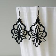 Lace Earrings - Black