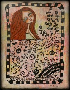 My latest Art Journal page. TWISTED FIGURES artwork by Shonna Bucaroff