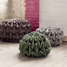 Jule Waibel's pine cone-shaped seats<br /> are made by steam-folding wool felt
