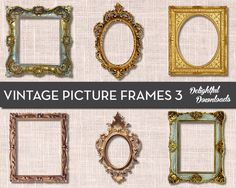 Antique Vintage Picture Frame Clip Art - VOL 3 - for Digital Collage, Scrapbooking, Cards, Prints