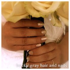Becky gray hair and nails shellac strawberry smoothie with glitter wedding ideas
