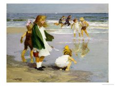 Edward Henry Potthast Play in the Surf print for sale. Shop for Edward Henry Potthast Play in the Surf painting and frame at discount price, ships in 24 hours. Poster Surf, Surf Posters, Wassily Kandinsky, Art Plage, American Impressionism, Painting Prints, Art Prints, Painting Art, Vintage Poster