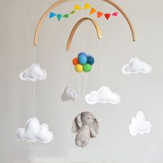 Baby Mobile Bunny with rainbow balloons and clouds | Woodland Nursery Decor Baby Shower newborn gift garland | up and away 100% Wool Felt
