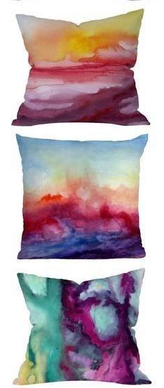 Watercolor pillows--pillow stacking! #sgc13