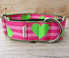 Get a jump on Valentine's Day!   Hearts on Pink Martingale Dog Collar   If It Barks