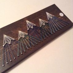 Mountain String Art, Five Peak Blues / Greens (Small) art diy art easy art ideas art painted art projects Cute Crafts, Crafts To Do, Wood Crafts, Arts And Crafts, Diy Crafts, String Crafts, Diy Wood, Diy String Art, Nail String