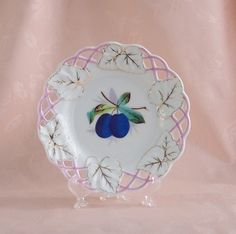 Very Vintage Reticulated Plate with a Ripe by TickleBugTreasures on Etsy $10.00