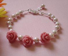 Coral Pink color  Rose Flower Pearl Bracelet - Wedding/Bridal jewelry, Children bracelet - Flower Bracelet