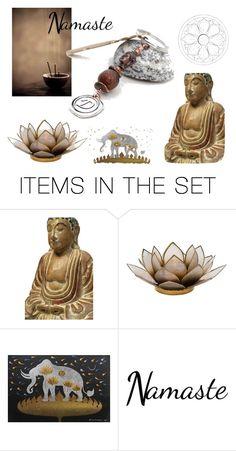 """""""Namaste"""" by kapkadesign ❤ liked on Polyvore featuring art, yoga, buddha, zen and meditation"""