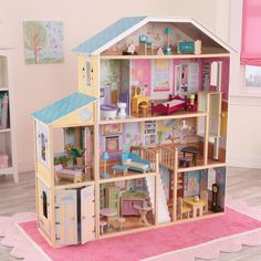 The Majestic Mansion is over four feet wide and four-and-a-half feet tall, giving young girls tons of space for taking care of their favorite dolls. This dollhouse is full of fun, interactive features and would make a perfect gift for any occasion.