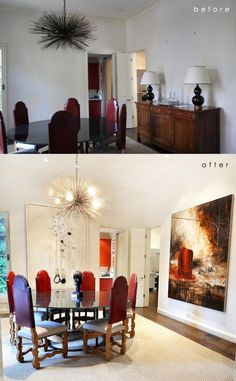 A dining room ignited with contemporary painting and tribal antiquity. #dining #painting #traditional #contemporary #tribal #art
