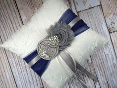 Ring Bearer Pillow  / Grey Navy Blue Ring by CutieButtsBoutique, $29.99