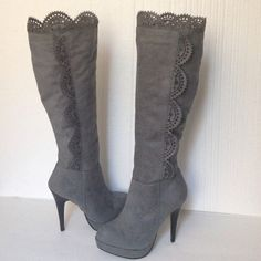 1 day saleNEW TYPE Z boots Gray fabric suede high heels boots Type Z Shoes Heels