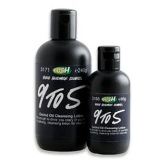 Lush 9 to 5 facial cleanser - LOVE this stuff!  Removes waterproof mascara easily, too.  I don't need a separate make-up remover anymore!
