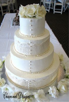 Lace wedding cake with button pearls by charoneldesigns, via Flickr