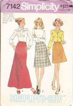 Vintage Sewing Pattern for a Skirt in 3 by ilovevintagestuff