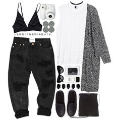 Untitled #111 by purikura on Polyvore featuring мода, Monki, SELECTED, Rick Owens, 3.1 Phillip Lim, Chicnova Fashion, CÉLINE, Stila, D.L. & Co. and Polaroid