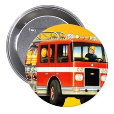 Trucks Birthday Party Favors Fire Truck Button