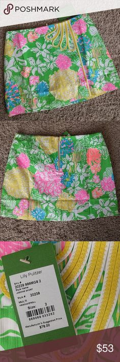 NWT Lilly Pulitzer Jasmine Skort Hibiscus Stroll print with white shorts underneath. Adorable! Lilly Pulitzer Shorts Skorts