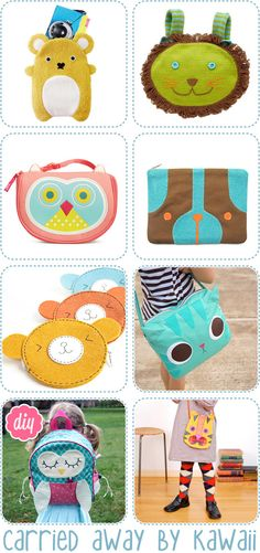 DIY bags-and-pouches...call me a little girl, but I really like the cat one for a pillow hehe