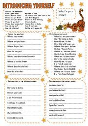 introduce yourself worksheet school pinterest worksheets. Black Bedroom Furniture Sets. Home Design Ideas