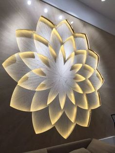 Layers / Lighting / Wall feature Arquitetura E Design, Drawing Room, Wall Art With Lights, Ceiling Lights, Wall Panel Design, Gypsum, Panelling, Mandala, Modern Interior