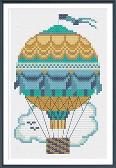 Teal Hot Air Balloon Cross Stitch Pattern Instant by tinymodernist, $6.00
