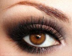 Beautiful brown neutral classic smoky eye make up