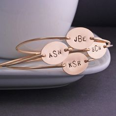 georgiedesigns - Gold Monogram Bangle Bracelet