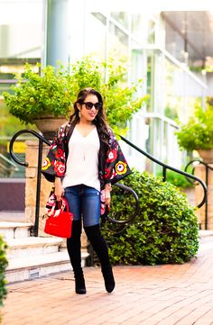 cute & little | petite fashion blog | floral kimono, stuart weitzman black highland over the knee boots, red celine nano | fall outfit