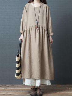 Fashion Loose Linen Maxi Dresses Women Fall Outfits – Linen Dresses For Women Vintage Tops, Style Vintage, Mode Abaya, Mode Hijab, Korea Fashion, Boho Fashion, Fashion Outfits, Fall Fashion, Vestidos Vintage