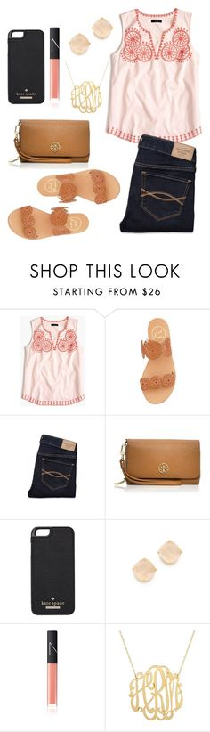"""Untitled #270"" by juliacm-bush ❤ liked on Polyvore featuring J.Crew, Jack Rogers, Abercrombie & Fitch, Tory Burch, Kate Spade and NARS Cosmetics"