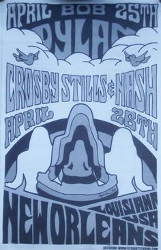Crosby Stills & Nash Dylan New Orleans Concert Poster Print VERY LIMITED RARE