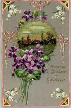 Prägedruck Geburtstag Maiglöckchen Blumen Preissenkung: Ansichtskarten-Center Onlineshop