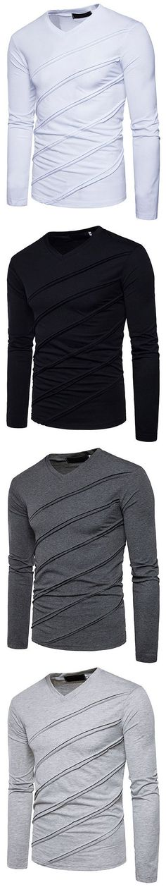 US$18.57#Mens Folding Design Solid Color V-Neck Long Sleeve Regular Fit Casual Tops