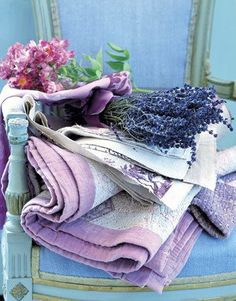 Blue chair/lavender/quilt/pink/flowers/vintage