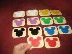 Did you know that paint chips are free?!  Home Depot carries the Disney line, which means that you can go in and take a few sample colors in the fun Mickey shape!  Make it a matching game or, when your tot gets older, try it as a memory game!
