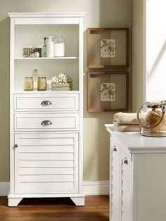 Organize with this Tall Storage Cabinet for bathrooms and more. This timeless cabinet is great for holding things while easily matching with a number of styles. Tall Storage Cupboard, Tall Bathroom Storage Cabinet, Wall Cupboards, Bathroom Wall Cabinets, Bathroom Furniture, Modern Furniture, Cabinets For Bathrooms, Clever Bathroom Storage, Kitchen Cabinets