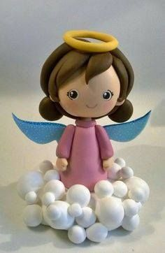 Cute Polymer Clay, Polymer Clay Projects, Clay Angel, Diy And Crafts, Crafts For Kids, Sculpting Tutorials, Angel Cake, Clay Baby, Clay Figurine