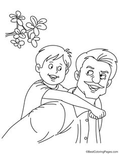Father With Son Coloring Page