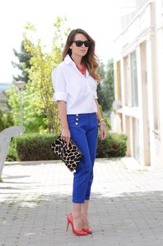 white shirt, blue ankle pant, and red heels: either the necklace or the heels need to go, not both. Too matchy-matchy