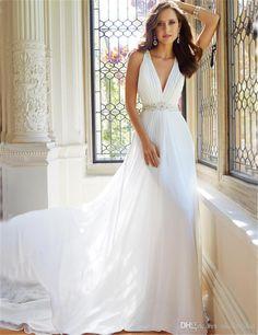 Chiffon Wedding Dress Vestido Para Madrinha De Casamento Sexy Deep V Neck Cheap Long Wedding Dresses 2017 Hot Selling Online Wedding Gowns Perfect Wedding Dresses From Okokbridal, $160.8  Dhgate.Com